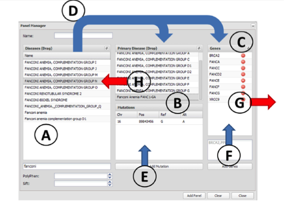 The panel manager. The elements used to define a panel are (A) disease terms, (B) diagnostic mutations and (C) genes. Arrows represent actions that can be taken in the panel manager. Panels can be defined by using the known mutations and genes of a particular disease. This can be done by dragging them to the Primary Diagnostic box (action D). This action, in addition to defining the diseases in the Primary Diagnostic box, automatically adds the corresponding genes to the Genes box. The panels can be customized by adding new genes (action F) or removing undesired genes (action G). New disease mutations can be added independently or associated to an already existing disease term (action E). Disease terms can be removed by simply dragging themback (action H).